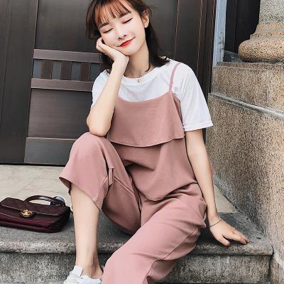 恩黛 2018夏季新款女装短袖T恤宽松显瘦阔腿裤三件套F6399