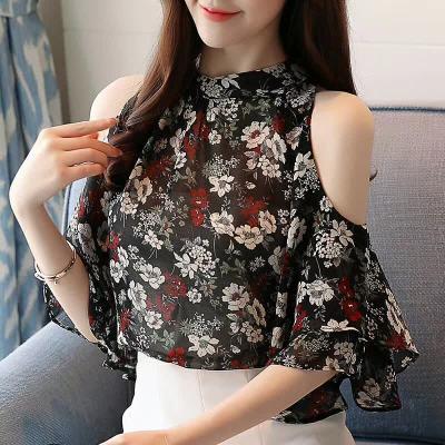 布桂坊 2018夏季新品立领韩版修身露肩雪纺衫6515