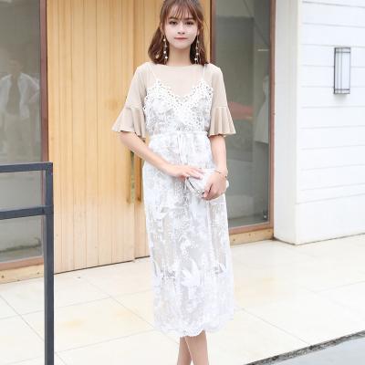 LD服饰  2018年春夏新款韩版两件套小清新收腰吊带裙 9165