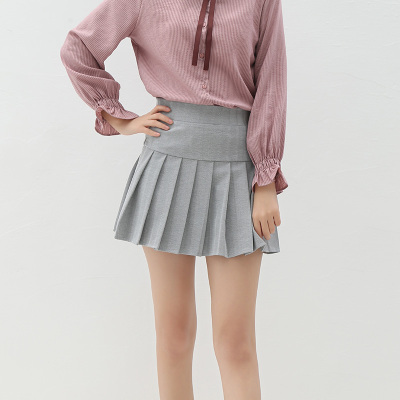 高腰百褶半身A字裙(18090601)