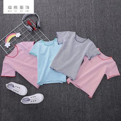 2018新款春夏季韩版女童短袖T恤条纹休闲短袖童装棉质短袖衫代销