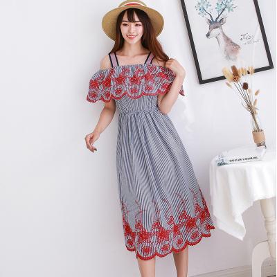 BLISS VALLY 刺绣条纹荷花边吊带裙 SDA8113