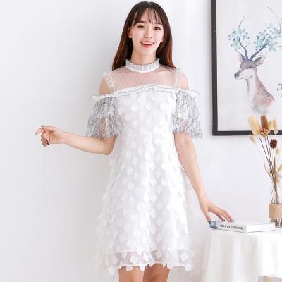 BLISS VALLY 透视蕾丝露肩连衣裙 SHA6099