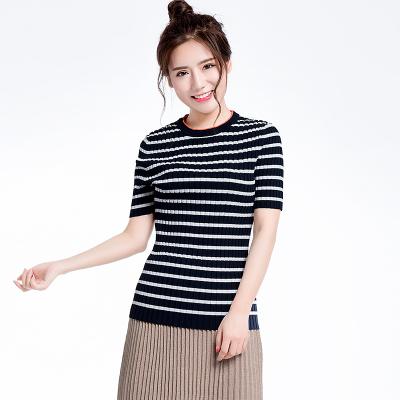 领撞色条纹宽罗纹短袖针织毛衫(Y&M18SST011)