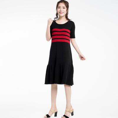 短袖条纹连衣裙(Y&M18SSOP006)