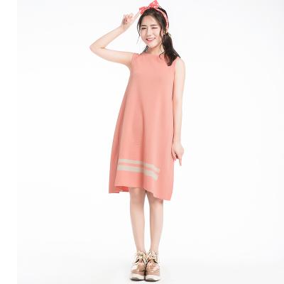 无袖脚摆条纹连衣裙(Y&M18SSOP005)