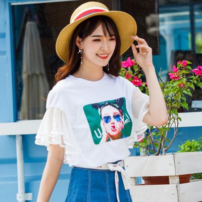 BLISS VALLY 蕾丝公主袖拼接T恤裤子 SHX6162/SMX1098
