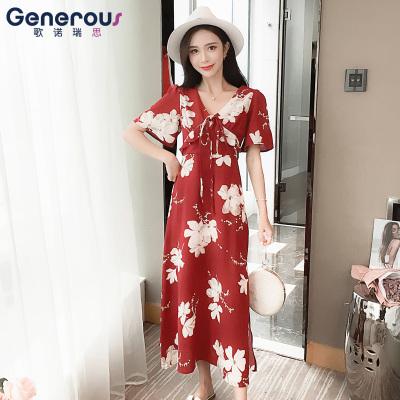 歌诺瑞丝  2018新款韩版碎花气质V领连衣裙  GD314/6067
