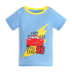 英尼熊2018新款童装T恤批发 宝宝全棉短袖肩扣印花T恤婴幼儿睡衣