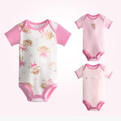 英尼熊2018夏季婴幼儿全棉短袖印花连体哈衣3件套婴儿包屁衣爬服