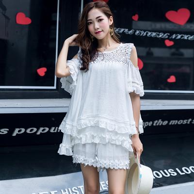 ZQY 两件套丝光麻时尚上衣短裤 (7057)