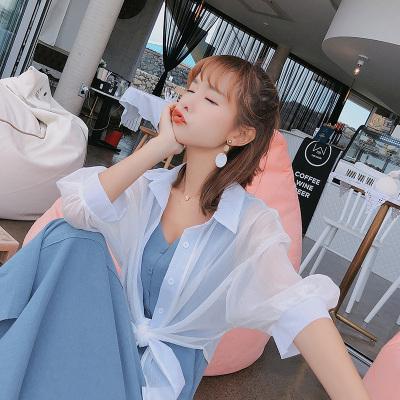 恩黛 2018韩版新款薄款宽松显瘦防晒百搭纯色衬衫女夏 F6581