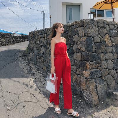 恩黛 2018夏季韩版新款时尚显瘦高腰裹胸阔腿连体裤女 F6579