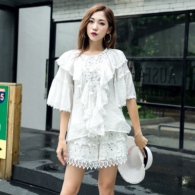 ZQY 两件套丝光麻时尚上衣短裤 (7059)