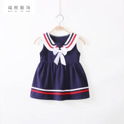 2018夏季新款女童水手服校服裙 中小童宝宝无袖裙幼儿园校服童装