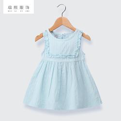 新款韩版女童吊带裙 夏季纯棉百褶裙背心裙 纯色背心裙 一件代发