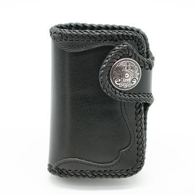 革言 进口植鞣牛皮欧洲复古手工钱包 GY-1802-01 黑色