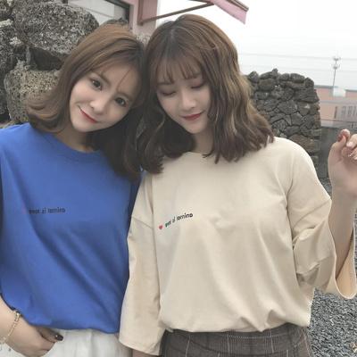 连连兔 韩国ulzzang原宿风BF宽松短袖T恤女韩版学生短袖ins超火的上衣