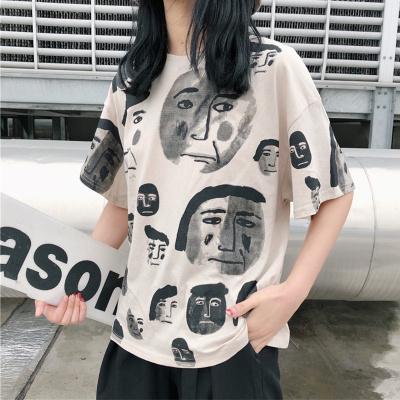 连连兔 韩版夏季T恤女chic短袖上衣女字母T恤ins半袖t恤女复古港味t恤女