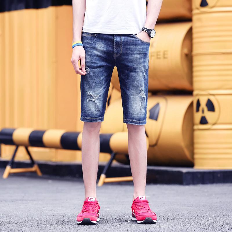 佳泽 2018新款破洞潮流牛仔短裤直筒...