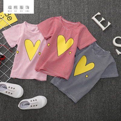 细条纹爱心印花短袖衫 2018夏季新款女童棉质短袖T恤 厂家直销