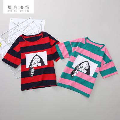 2018夏季短袖童装t恤棉儿童外贸韩版童装条纹短袖圆领t恤一件代发