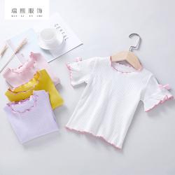 淑女风女童短袖t恤2018新款韩版夏季童装 短袖t恤儿童木耳边短袖