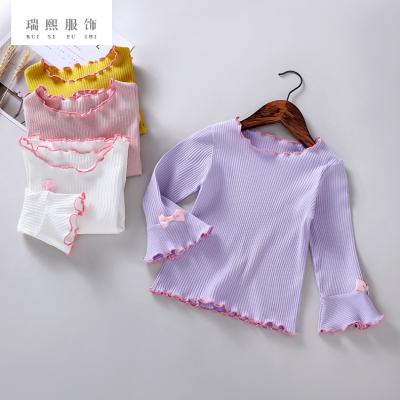 新品韩版时尚喇叭袖休闲衫童装女 纯色夏季木耳边长袖童装 可代销
