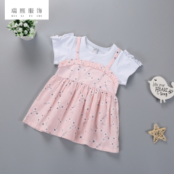 甜美风短袖童装连衣裙棉假两件连衣裙碎花女童百褶裙假两件现货