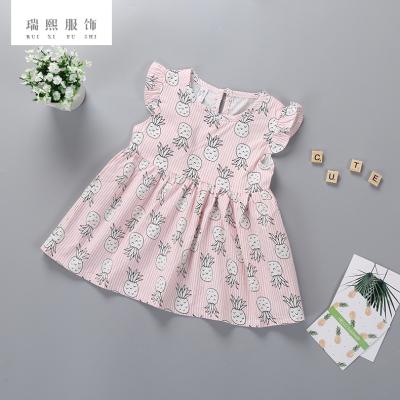 2018新款女宝宝公主裙 休闲婴幼童无袖夏季衣服菠萝印花公主裙