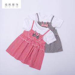ins夏季新款格子连衣裙 假两件韩版风格裙子 童装女童格子吊带裙