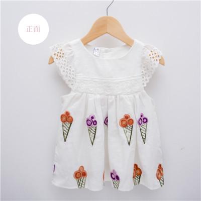 夏款花朵刺绣连衣裙女童童装 白色刺绣公主裙甜美风裙子 一件代发