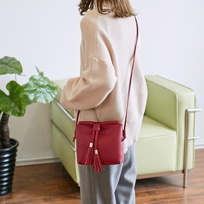力意 时尚简约流苏大容量手机包随身包单肩斜跨小清新女包 326