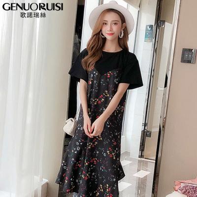 歌诺瑞丝 夏季2018新款韩版显瘦大码女装荷叶边短袖T恤裙 GD314-6006