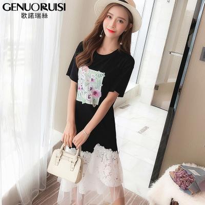 歌诺瑞丝 夏季洋气大码女装T恤裙时尚简约遮肚子连衣裙 GD314-6027