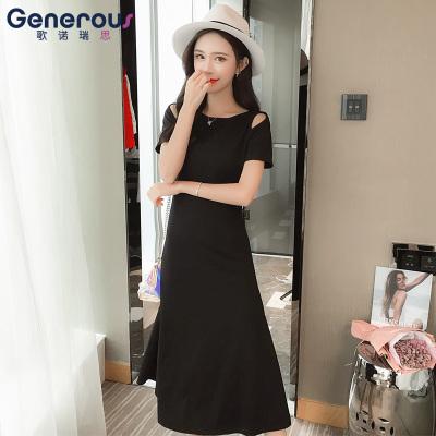 歌诺瑞丝 连衣裙女2018年新款大码韩版露肩A字修身显瘦中长裙 GD314-6059