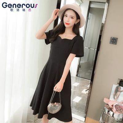 歌诺瑞丝 气质连衣裙女夏季18年新款中长款赫本风收腰显瘦短袖大摆小黑裙 GD314-6061