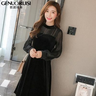 歌诺瑞丝 网纱拼接金丝绒连衣裙新款小香风中长款修身波点小黑裙 GD314-8816