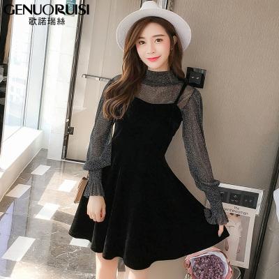 歌诺瑞丝 2018年新款春夏女装吊带两件套裙性感套装小黑裙长袖超仙连衣裙 GD314-8833