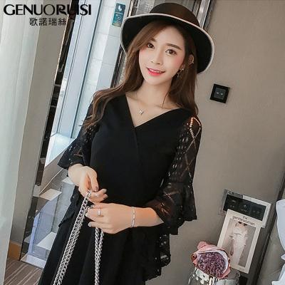 歌诺瑞丝 夏季2018新款韩版显瘦修身时尚优雅大码女装裙 GD314-8837