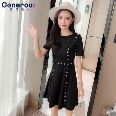 歌诺瑞丝 夏季2018新款韩版初恋裙复古高腰黑色圆领中长款 GD314-8909