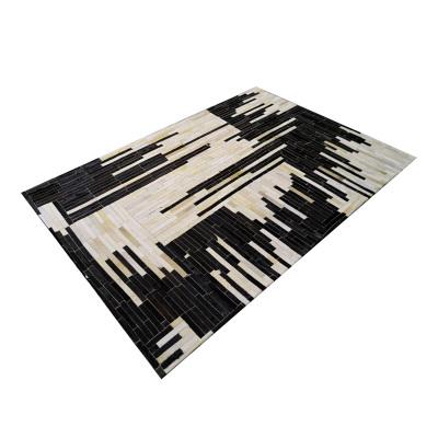 欧美现代天然手工拼接真牛皮地毯客厅卧室茶几书房进门口地垫定制