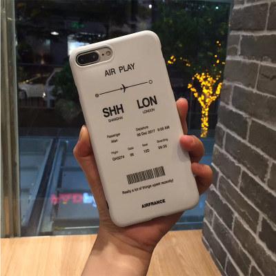 千隆 日韩时尚登机牌苹果6S 8plus手机壳防摔保护情侣款iPhoneX 7软套