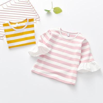 白色喇叭中袖衫 2018夏季新款女童条纹中袖T恤 韩版童装喇叭中袖