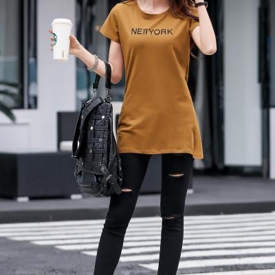 依赖 韩版新款2018夏装圆领中长款短袖T恤纯色宽松显瘦印字母打底衫女 832#