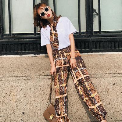 恩黛 两件套2018夏季新款女装宽松显瘦阔腿裤女套装 6661