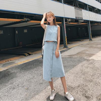 恩黛 2018夏季新款韩版无袖背心+牛仔半身裙两件套女 6634