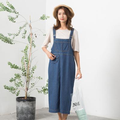 2018年秋季新品 韩版休闲牛仔背带裙时尚后开叉18285