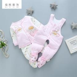 新生婴儿背带连脚三件套 婴儿衣服套装三件套 厂家直销 支持批发