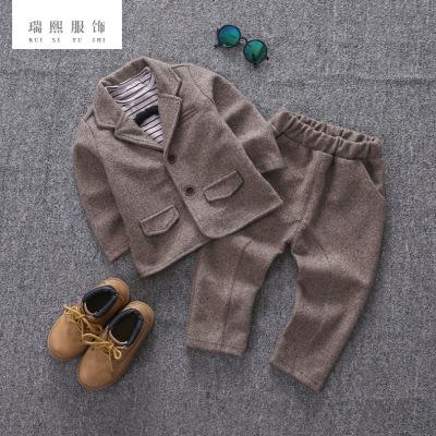 儿童西服套装男 秋款长袖儿童三件套 英伦西服男童套装 厂家直销
